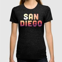 Mission Beach Sunset Womens Fitted Tee Tri-Black SMALL