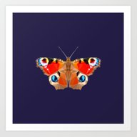 Art Print featuring Geometric Butterfly by Lina Littlefield