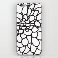 Black and White Modern Dahlia FLower iPhone & iPod Skin