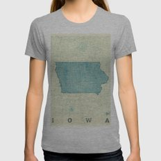 Iowa State Map Blue Vintage Womens Fitted Tee Athletic Grey SMALL
