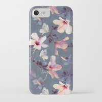 cow iPhone & iPod Cases featuring Butterflies and Hibiscus Flowers - a painted pattern by micklyn