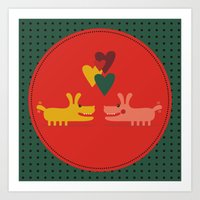 dogs Art Prints featuring dogs by ValoValo