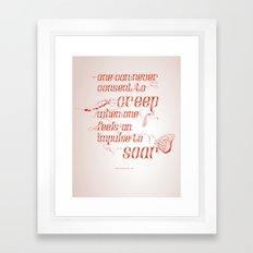 Soar - Illustrated quote of Helen Keller Framed Art Print