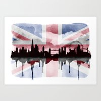 Great British Flag London Skyline 2 Art Print