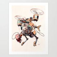 Aerobatic Support Piggie Copter Art Print