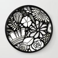 Flowers On The Wall Black & White Edition Wall Clock