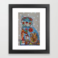 Cat and cock Framed Art Print