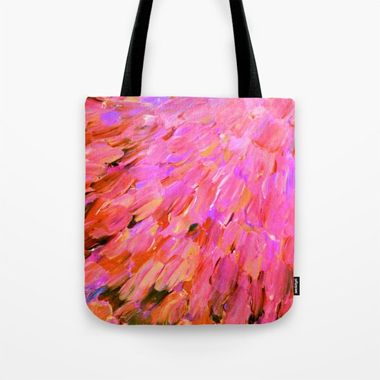 SEA SCALES IN PINK - Hot Pink Feminine Beach Ocean Waves Feathers Abstract Acrylic Painting Fine Art Tote Bag