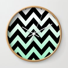 BLACK CHEVRON MINT FADE Wall Clock