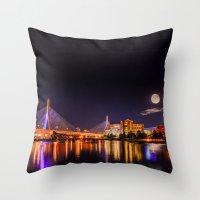 Moon Light Over Zakim Br… Throw Pillow