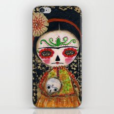 Frida The Catrina And The Skull - Dia De Los Muertos Mixed Media Art iPhone & iPod Skin