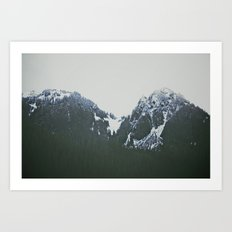 Vintage Snowy Mountain Art Print