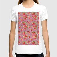 Rose pattern- pink Womens Fitted Tee White SMALL
