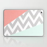 mint & coral chevron block TEXTURIZED Laptop & iPad Skin