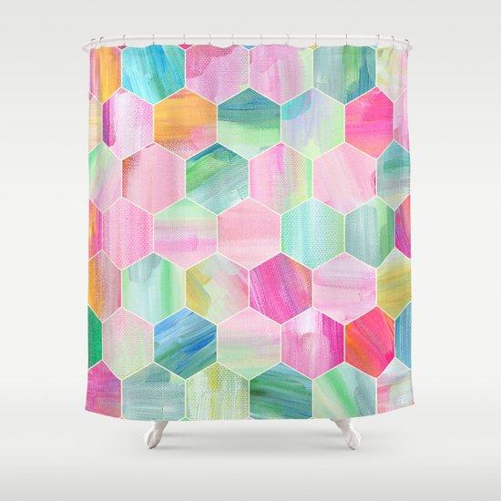 Pretty Pastel Hexagon Pattern in Oil Paint Shower Curtain