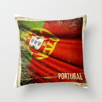 Portugal grunge sticker flag Throw Pillow
