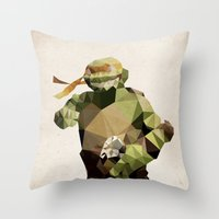 Polygon Heroes - Michelangelo Throw Pillow