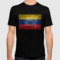 The national flag of the Bolivarian Republic of Venezuela -  Vintage version Mens Fitted Tee Black SMALL