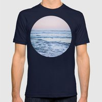 Pacific Ocean Waves Mens Fitted Tee Navy SMALL