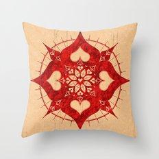 lianai hearts redstone mandala Throw Pillow