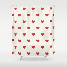 Cute Red Hearts Pattern Shower Curtain