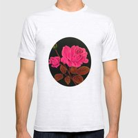Pink Roses Mens Fitted Tee Ash Grey SMALL