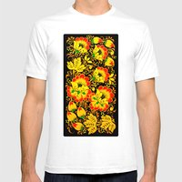 Flower Design Mens Fitted Tee White SMALL