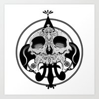 Skull And Pen Art Print