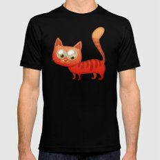 Cute Cat Mens Fitted Tee Black SMALL