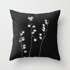 Lily of the Valley Noir Throw Pillow
