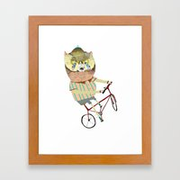 Biking, bike, bikes, biker, bear,  Framed Art Print