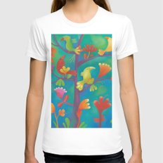 Birds Womens Fitted Tee White SMALL