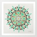 Mint & Gold Mandala Art Print