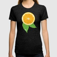 Orange Pattern Womens Fitted Tee Tri-Black SMALL