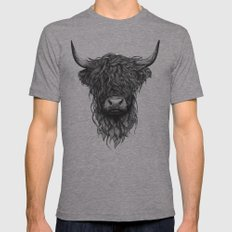 Highland Cattle Mens Fitted Tee Athletic Grey MEDIUM
