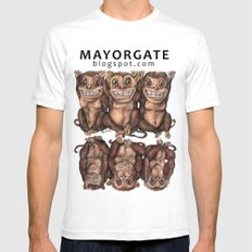 Emancipated Monkeys  White Mens Fitted Tee SMALL