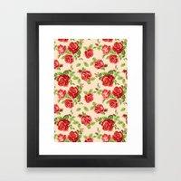 Rose pattern- cream Framed Art Print