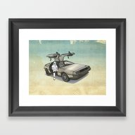 Stormtrooper In A DeLore… Framed Art Print