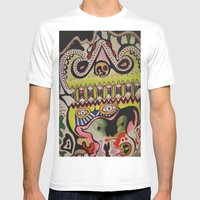 Crocodile Eyes Mens Fitted Tee White SMALL