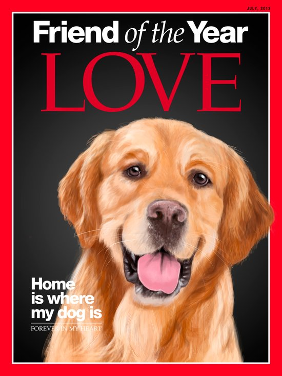 Portrait of a lovely Golden Retriever on a Time Magazine cover Art Print