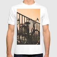 Bike In Paris Mens Fitted Tee White SMALL