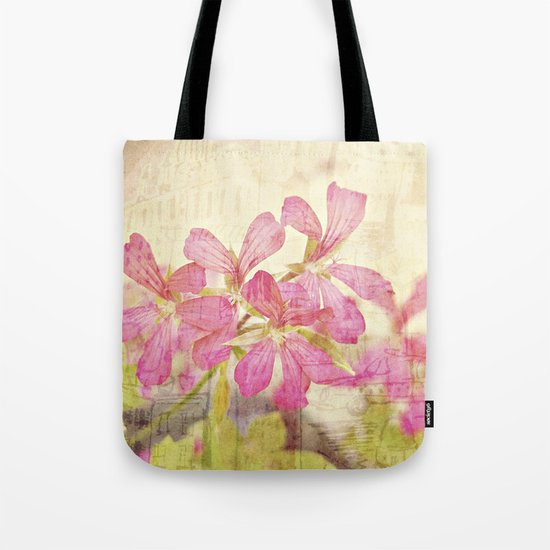 Vintage Whimsical Watermelon Pink Summer Geraniums in the City Montage Collage _  très chic Tote Bag