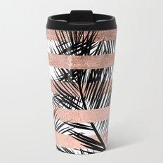 Trendy tropical palm trees chic rose gold stripes Travel Mug