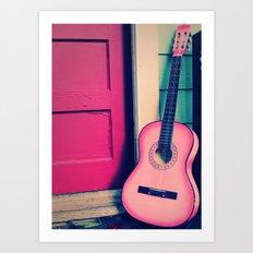Bubblegum Pink Guitar Art Print