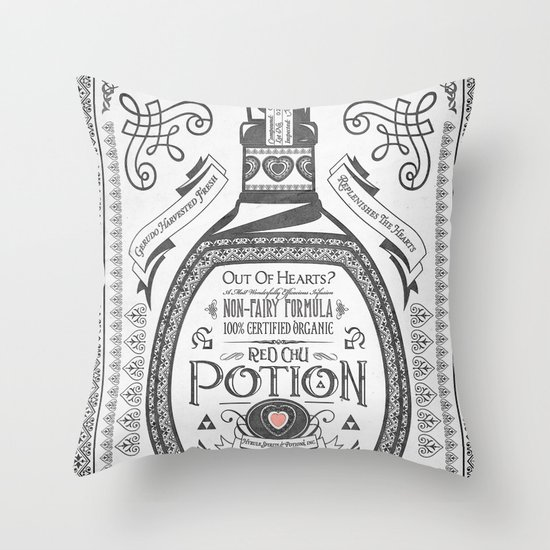Legend of Zelda Red Potion Vintage Hyrule Line Work Letterpress Throw Pillow