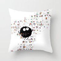 Blowing rainbow bubbles Throw Pillow