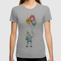 Finn With Birthday Ballo… Womens Fitted Tee Athletic Grey SMALL