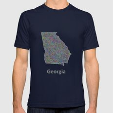 Georgia Map Mens Fitted Tee Navy SMALL