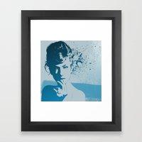 Face 01 (Blue) Framed Art Print