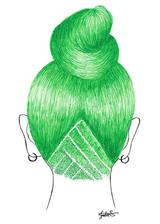 green hair girl high bun undercut shaved art print